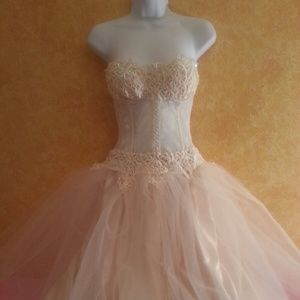 Sheer Ivory Sequin Lace & Tulle Tea Wedding Gown